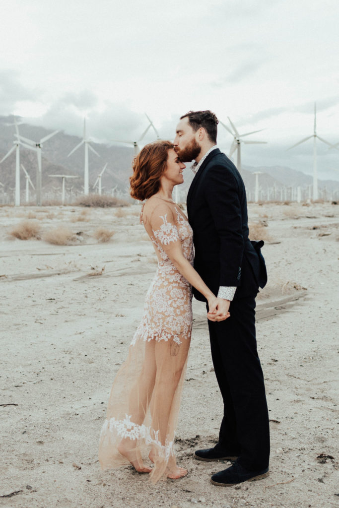 Lindsay and Joels bohemian engagement at Moorten botanical gardens and the palm springs windmills by Kadi Tobin Photography a Palm Springs Wedding Photographer