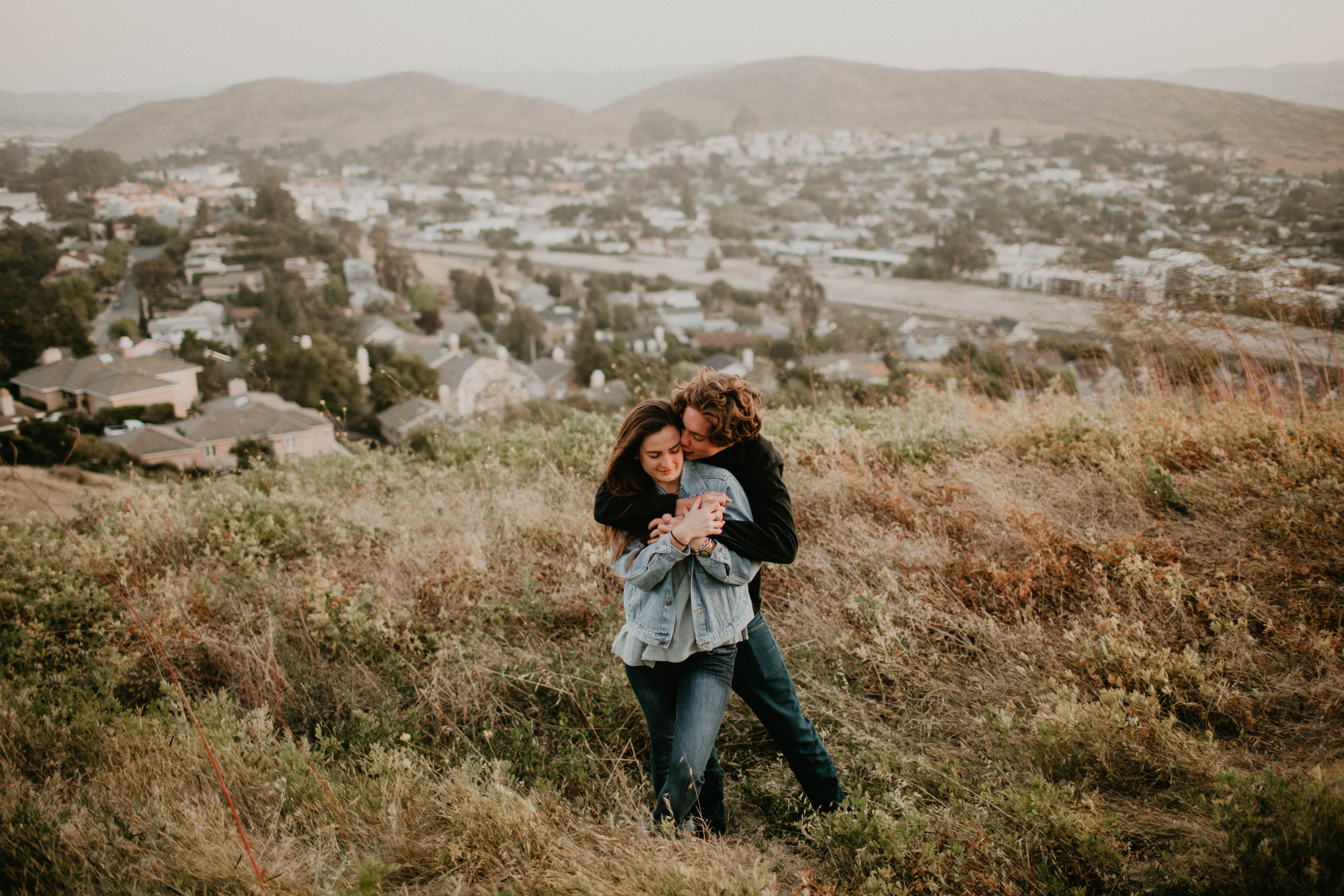Wild and free engagement at Terrace Hill, in the Central Coast of California San Luis Obispo California Wedding Photographer