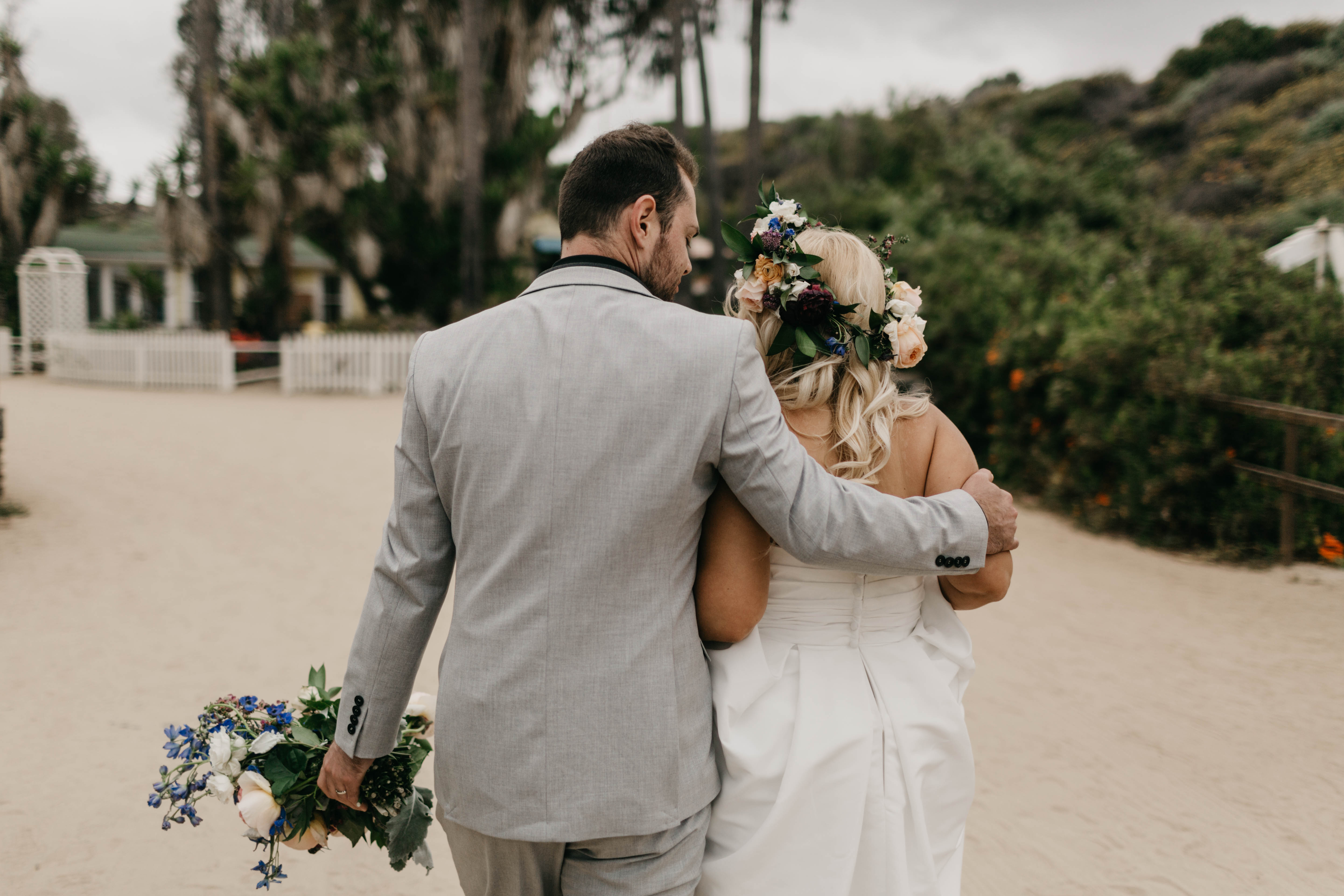A colorful greenhouse wedding at the five crowns in Corona Del Mar and Crystal cove, California