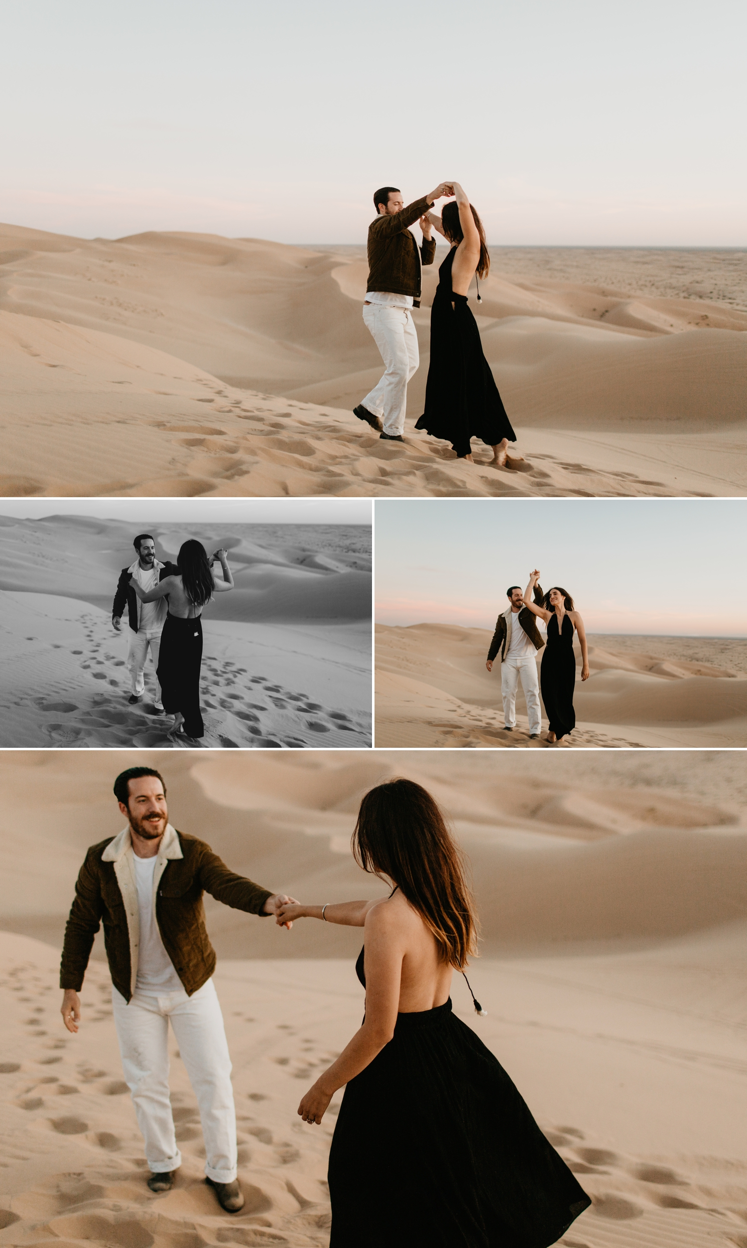 Unique and Bohemian adventurous engagement session on glamis san diego sand dunes