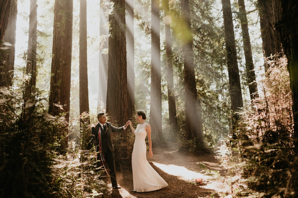 A wedding amongst the redwoods in Santa Cruz at Roaring Camp weddings by Santa Cruz wedding photographer Kadi Tobin